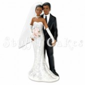 Black Bride & Groom Cake Topper Design 2