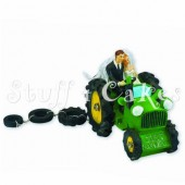 Bride & Groom Green Tractor Cake Topper