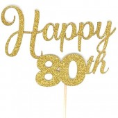 Gold Glitter 80th Happy Birthday Cake Topper - Card