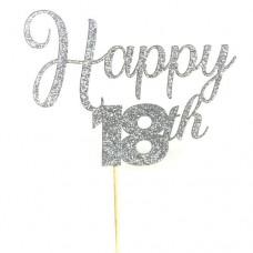 Silver Glitter Happy 18th Happy Cake Topper - Card