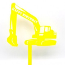 Yellow Excavator Birthday Cake Topper - Acrylic