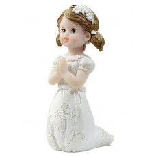 Communion Girl with Pigtails Cake Topper Kneeling