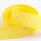 Yellow Dot Grosgrain 15mm x 10m Roll