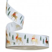 Gold Foil Reindeer White Christmas Ribbon 25mm