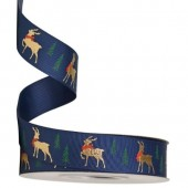 Gold Foil Reindeer Navy Christmas Ribbon 25mm