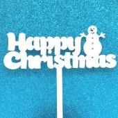 Happy Christmas Snowman Cake Topper - Acrylic
