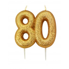 '80' Gold Glitter Candle