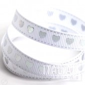9mm Silver Hearts Ribbon - 20m Roll