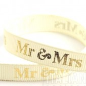 9mm Gold Mr & Mrs Ribbon - 20m Roll