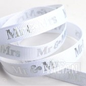 9mm Silver Mr & Mrs Ribbon - 20m Roll