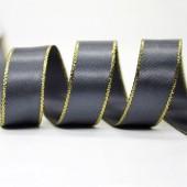 15mm Gold Edge Ribbon - Charcoal