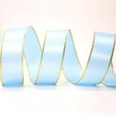 15mm Gold Edge Ribbon - Blue Topaz