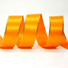 15mm Gold Edge Ribbon - Orange
