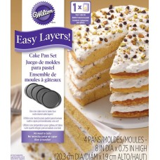 "Wilton Easy Layers 8"" Round Cake Pans Set/4"