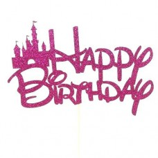 Fairytale Fuchsia Glitter Birthday Cake Topper - Card