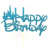 Fairytale Blue Glitter Birthday Cake Topper - Card