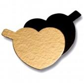 "3.5"" Mini Black/Gold Cake Card - Heart"