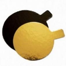 "3.1"" Mini Black/Gold Cake Card - Round"