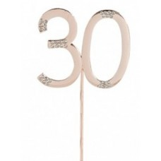 Diamante '30' Rose Gold Cake Topper