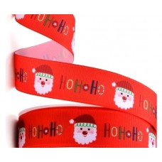 Red Ho Ho Ho Christmas Ribbon 25mm