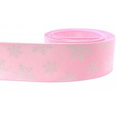 25mm Baby Pink Snowflake Ribbon