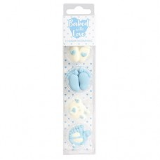Baked with Love Baby Cupcake Decorations Blue Pk/13