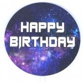 Printed Acrylic Paddle - Happy Birthday Galaxy