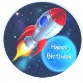 Printed Acrylic Paddle - Happy Birthday Space Rocket