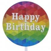 Printed Acrylic Paddle - Happy Birthday Geometric Colour