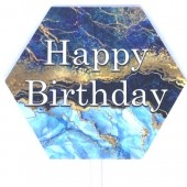 Printed Acrylic Topper- Blue Geode Happy Birthday