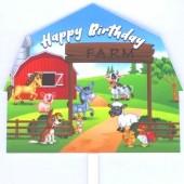 Printed Acrylic Topper - Farm Animals Happy Birthday