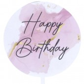 Printed Acrylic Paddle - Happy Birthday Pink Marble
