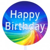 Printed Acrylic Paddle - Happy Birthday Colour Swirl