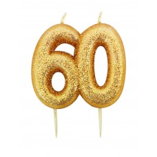 '60' Gold Glitter Candle