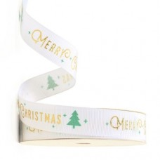 15mm White Merry Christmas Ribbon