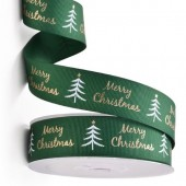 Green with Gold Merry Christmas Ribbon 25mm