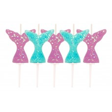 Mermaid Tail Pick Candles Pk/5