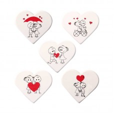 Belgian Chocolate Cute White Heart Decorations Pk/5