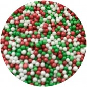Glimmer Red, Green & White Mini Pearls 80g