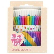 Baked with Love Rainbow Buncases Pk/100