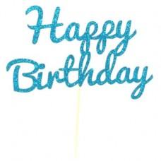 Blue Glitter Happy Birthday Cake Topper - Card