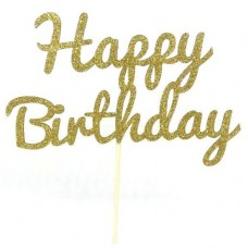 Gold Glitter Happy Birthday Cake Topper - Card