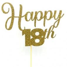 Gold Glitter Happy 18th Cake Topper - Card