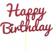 Red Glitter Happy Birthday Cake Topper - Card