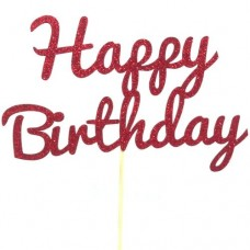 Red Glitter Happy Birthday Cake Topper - Card