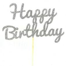 Silver Glitter Happy Birthday Cake Topper - Card