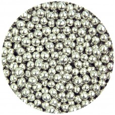4mm Metallic Silver Pearls 80g