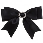 25mm Black Satin Bow with Diamante Buckle