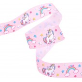 25mm Baby Pink Unicorn Ribbon
