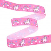 25mm Hot Pink Unicorn Ribbon